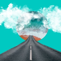 Abstract collage art. Blue sea, road, clouds.