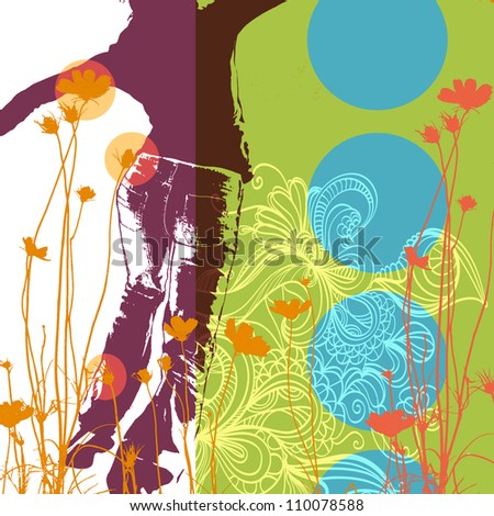 Abstract collage illustration with happy young woman