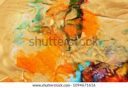 Abstract color background. Acrylic gold paint with sparkles. Colorful blots. Marble texture.  #1094671616