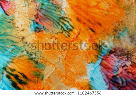 Abstract color background. Acrylic gold  paint with sparkles. Colorful blots. Marble texture.  #1102467356