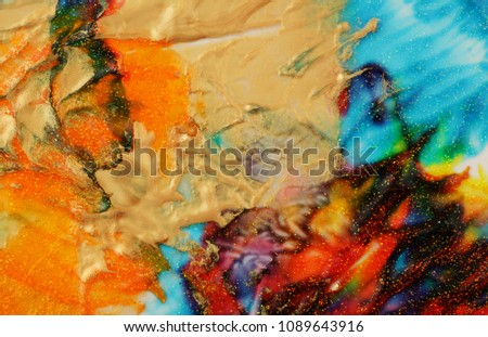 Abstract color background. Acrylic paint with sparkles. Colorful blots. Marble texture.  #1089643916