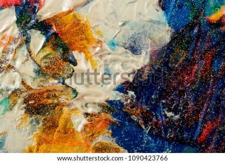 Abstract color background. Acrylic paint with sparkles. Colorful blots. Marble texture.  #1090423766