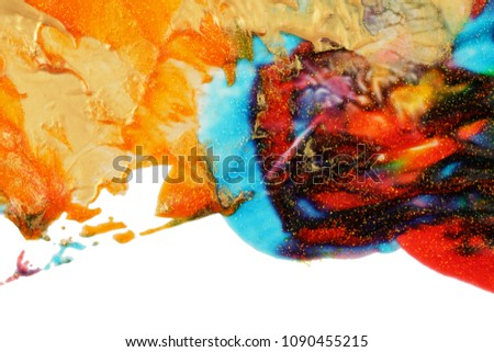 Abstract color background. Acrylic paint with sparkles. Colorful blots. Marble texture.  #1090455215