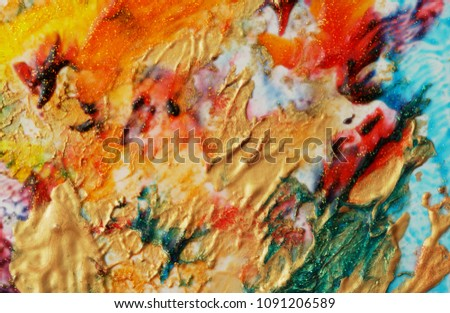 Abstract color background. Acrylic paint with sparkles. Colorful blots. Marble texture.  #1091206589