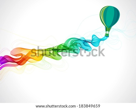 Abstract color background with hot air balloon and wave for design