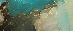 Abstract color blots horizontal background. Marble texture. Alcohol ink colors.