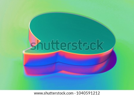 Abstract Color Comment Icon With Colorful Reflections on the Green Background With Smooth Focus. 3D Illustration of Chatting, Message, Comment, Chat Icon Set for Presentation.