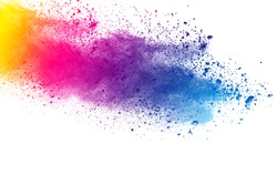 abstract color powder explosion on  white background.Freeze motion of muticolored powder splash.
