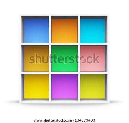 Abstract color shelf isolated on white background