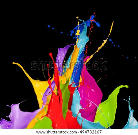 abstract color splash isolated on black background #494732167