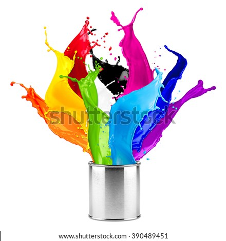abstract color splash splashes out of can isolated on white background #390489451