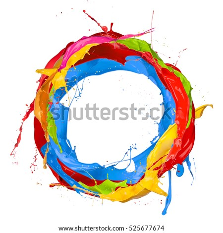 Abstract color splashes in circle shape, isolated on white background #525677674
