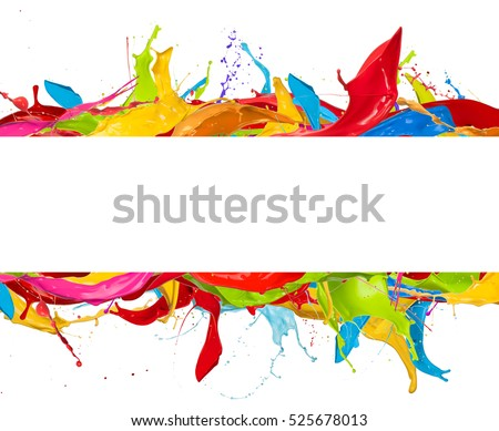 Abstract color splashes with blank stripe for copyspace, isolated on white background #525678013