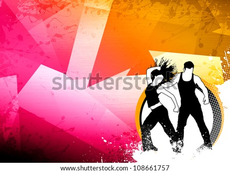 Abstract color zumba fitness dance background with space