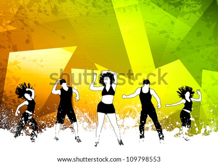 Abstract color zumba fitness dance background with space - stock photo