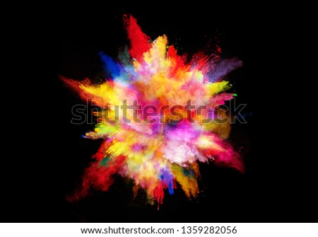 abstract colored dust explosion on a black background.abstract powder splatted background. #1359282056