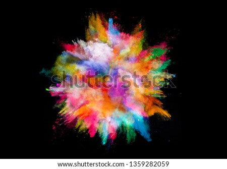 abstract colored dust explosion on a black background.abstract powder splatted background. #1359282059