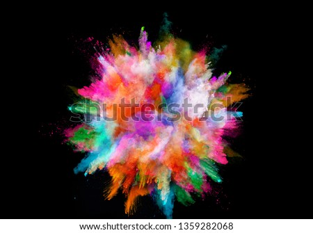 abstract colored dust explosion on a black background.abstract powder splatted background. #1359282068