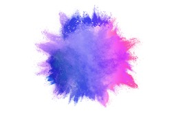 abstract colored dust explosion on white background.abstract powder splatted background,Freeze motion of color powder exploding/throwing color powder, multicolored glitter texture.