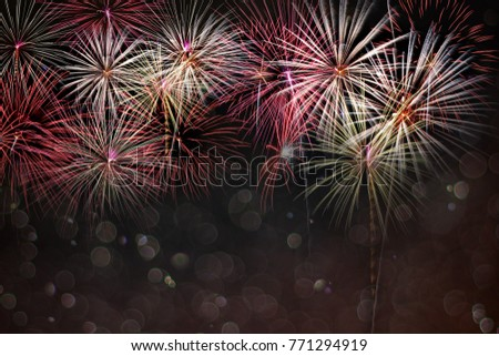 Abstract colored firework background with bokeh in new year festival and free space for text #771294919