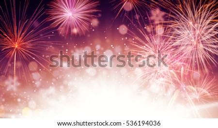 Abstract colored firework background with free space for text #536194036