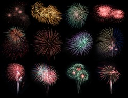 Abstract colored firework objects. Variety of colors Mix Fireworks or firecracker burst collections isolated on black  background. celebrate holiday travel outdoor.