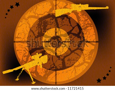 Abstract colored illustration with yellow gun shapes and target