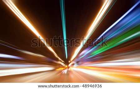 Abstract colored light at night - stock photo