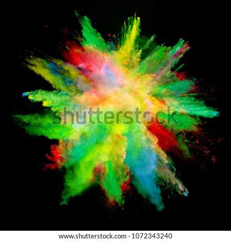 Abstract colored powder explosion isolated on black background. High resolution texture