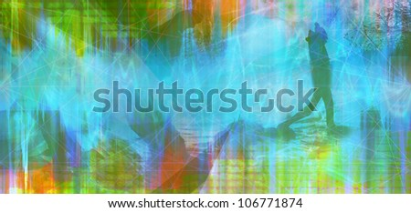abstract colored timeline image with man silhouette