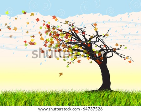 abstract colored windy autumn tree