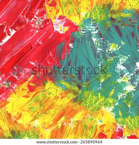 abstract colorful acrylic painted background in red, green and yellow