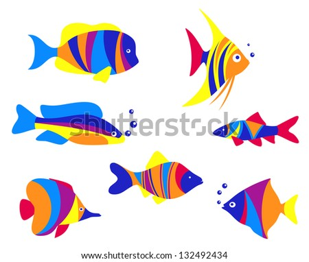 Abstract colorful aquarium fishes set isolated on white background. Vector version also available in gallery