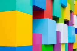 Abstract colorful architectural objects. Yellow red green blue pink white blocks with pantone colors variation.