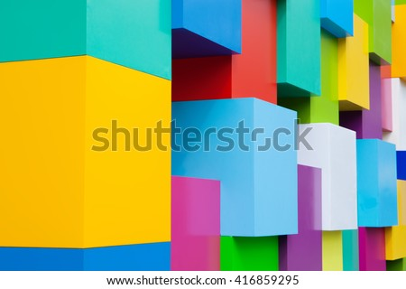 Abstract colorful architectural objects. Yellow red green blue pink white blocks with pantone colors variation. #416859295