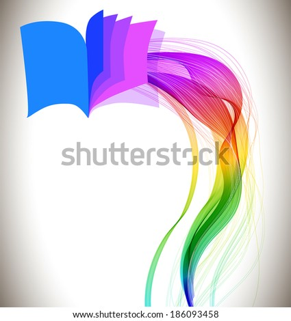 Abstract colorful background book icon and wave, education design
