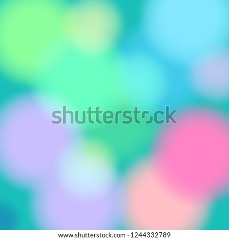 Abstract colorful background. Green, blue, yellow, violet and pink pastel colors. Roundish shapes, blurred lights backdrop.