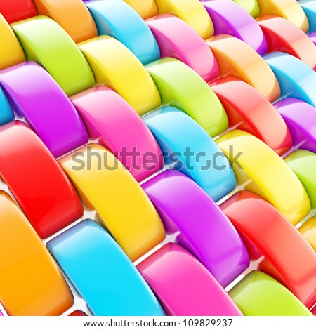 Abstract colorful background made of glossy rainbow colored plastic squama scale - stock photo