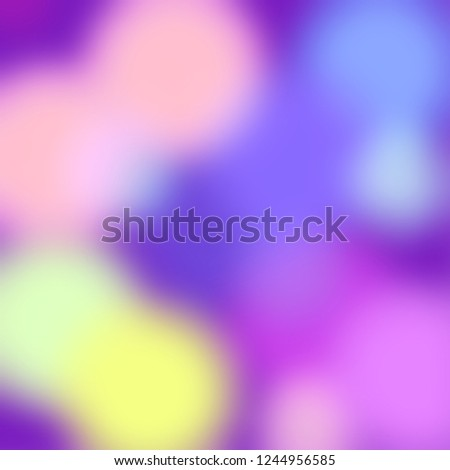 Abstract colorful background. Purple, blue, yellow, violet and pink pastel colors. Roundish shapes, blurred lights backdrop.