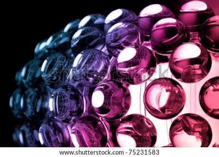 Abstract colorful background with glass spherical design elements of modern chandelier