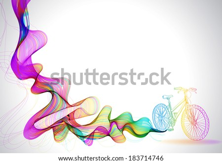Abstract colorful background with wave and bicycle, illustration for modern design