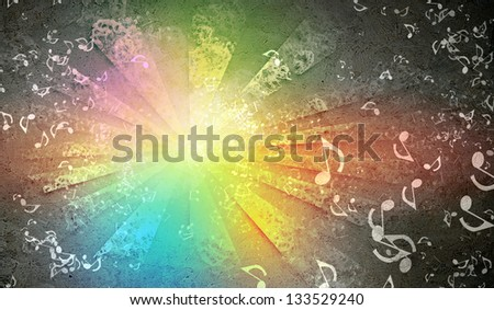 Abstract colorful backgrounds with elements symbolizing music. collage
