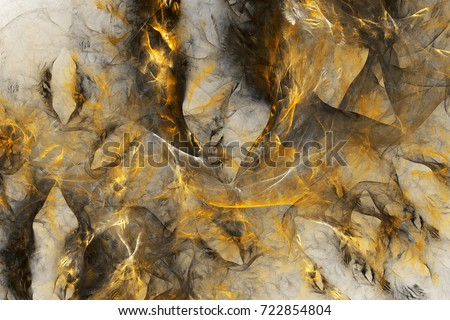 Abstract colorful chaotic swirly shapes. Fantasy fractal texture in golden and grey colors. 3D rendering.