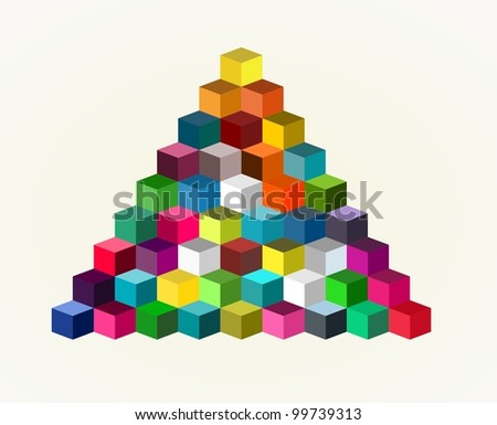 Abstract Colorful Cube Pyramid  Background