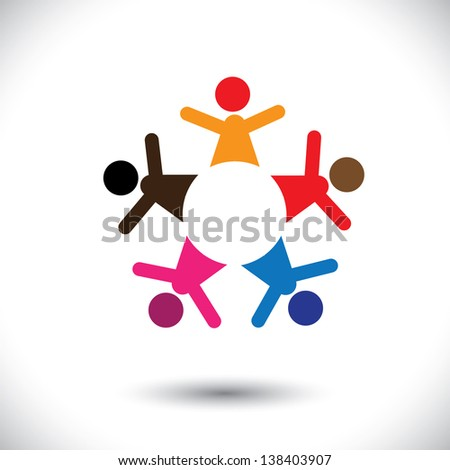 Abstract colorful five happy people icons as ring. This graphic illustration can also represent concept of children playing together or team building or group activity, unity & diversity, etc - stock photo