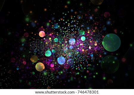 Stock Photo Abstract colorful glowing rainbow drops and sparkles on black background. Fantasy fractal texture in green, yellow, blue and pink colors. Digital art. 3D rendering.