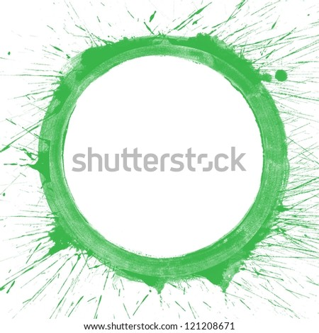 Abstract colorful green splash circle watercolor art hand paint on white background