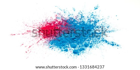 Abstract colorful Happy Holi background. Color vibrant powder isolated on white. Dust colored splash texture. #1331684237