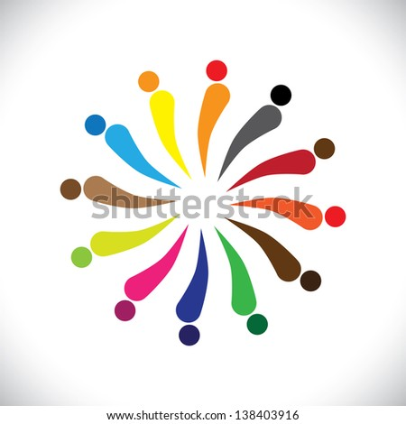 Abstract colorful happy people in circle. This graphic illustration can also represent concept of children playing together or team building or group activity, unity & diversity, etc