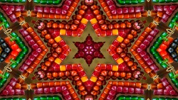 Abstract Colorful Hypnotic  Symmetric Pattern Ornamental Decorative Kaleidoscope Movement Geometric Circle and Star Shapes